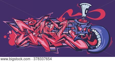 Abstract Word Lets Graffiti Style Font Lettering And Cartoon Spray Can