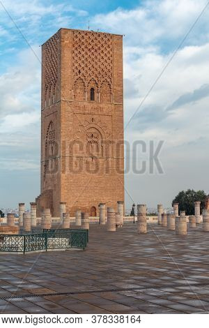 Hassan Tower Or Tour Hassan, The Minaret Of An Incomplete Mosque In Rabat, Morocco. The Tower Was In