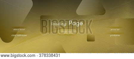 Abstract Vector Curve. Gold Gradient Background. 3d Flow Line. Business Banner. Yellow Abstract Vect