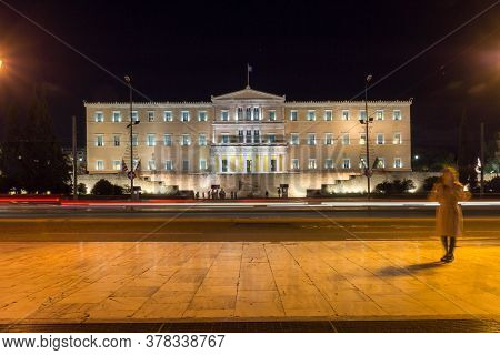 Athens, Greece - January 19, 2017: Night Photo Of Syntagma Square And The Greek Parliament In Athens