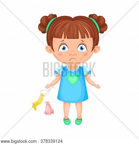 Girl Character Standing With Burst Balloons Feeling Sadness Vector Illustration