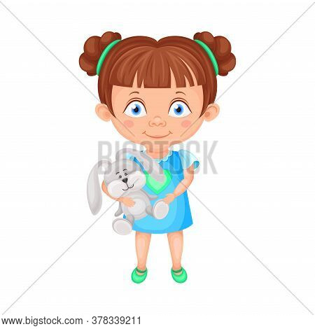 Girl Character Holding Fluffy Toy Hare Vector Illustration