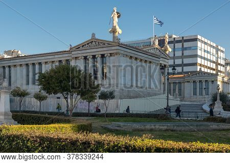 Athens, Greece - January 19, 2017:  Sunset View Of Academy Of Athens, Attica, Greece