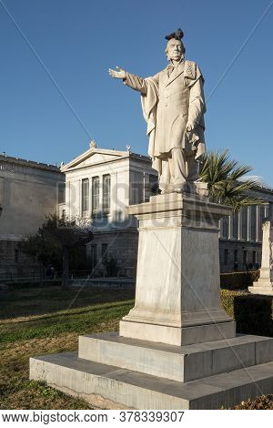 Athens, Greece - January 19, 2017:  Monument In Front Of University Of Athens, Attica, Greece