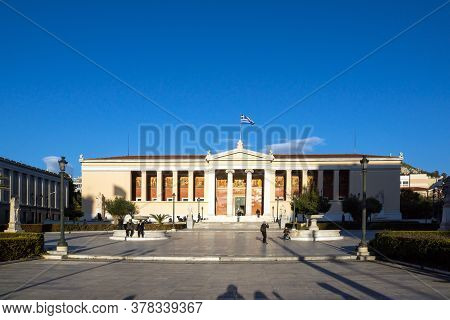 Athens, Greece - January 19, 2017:  Sunset View Of University Of Athens, Attica, Greece