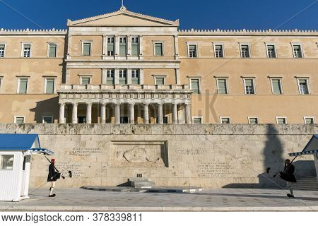 Athens, Greece - January 19, 2017: The Greek Parliament In Athens, Attica, Greece