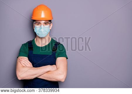 Close-up Portrait Of His He Attractive Healthy Guy Workman Wearing Safety Gauze Protective Mask Glas