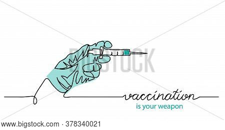 About Vaccination Health Concept. Simple Vector Web Banner, Illustration, Background With Syringe An