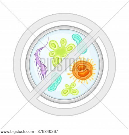 Bacterial Microorganism And Disease-causing Objects In Crossed Circle Vector Illustration