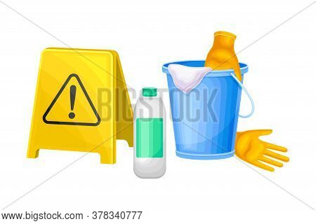 Detergent And Disinfectant In Bottle And Bail With Gloves For Household Chores Vector Illustration