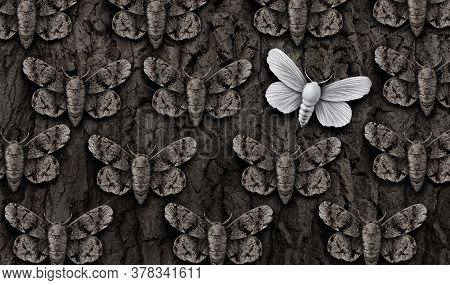 Vulnerable Concept And Vulnerability As A Group Of Moths Hiding With Camouflage As Protective Colori
