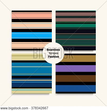 Sailor Stripes Seamless Pattern Set. Male Childrens Female Seamless Stripes Texture. Funky Lines End