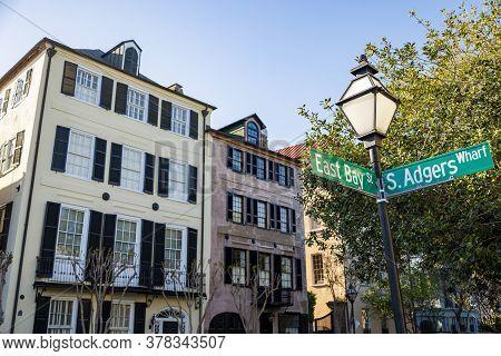 Facade Of The Rainbow Row Charleston South Carolina