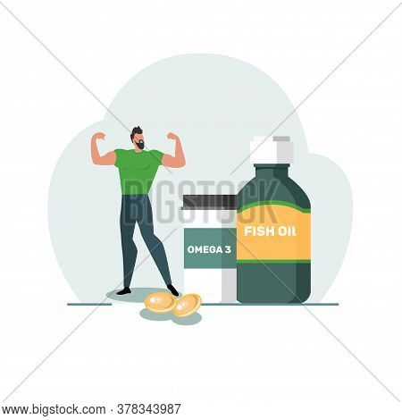 Healthy Lifestyle Concept. Fish Oil Food Supplement. An Image Of A Strong Man And Medical Supplies.