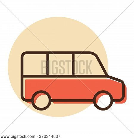 Airport Shuttle Minivan, Shuttle Bus Vector Icon. Graph Symbol For Travel And Tourism Web Site And A