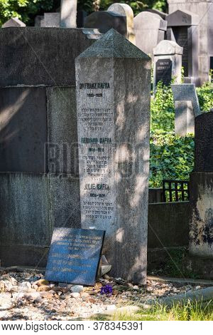 Prague, Czech Republic - July 12 2020: Gravestone Of Novelist Franz Kafka On The New Jewish Cemetery