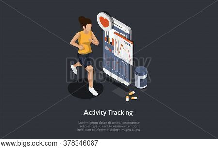 Sport Nutrition And Health Care Concept. Young Sports Woman Jogging, Monitoring Indicators On Smartp