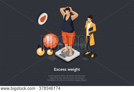 Concept Of Diet, Health Care And Loss Weight. Man With Excess Weight Is Standing On Scales. Dietitia