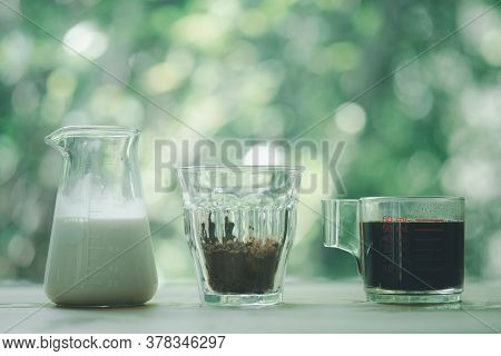 Ingredient For Iced Mocha Coffee On Wood Table