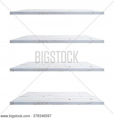 4 Wood Shelves White Table Isolated On White Background And Display Montage For Product.