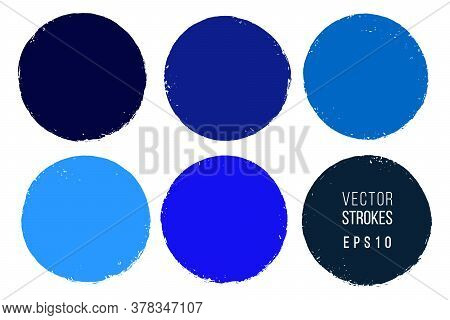 Vector Hand Drawn Circle Set For Backdrops. One Color Artistic Hand Drawn Backgrounds. Round Shape S