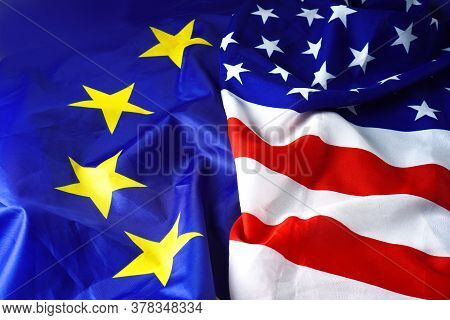 Usa Flag Vs Europe Flag. Eu Flag And American Flag Background.