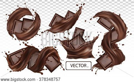 Chocolate Bar, Cocoa Butter, Pastry Sweets With Splashing And Whirl Chocolate Liquid. Realistic Vect
