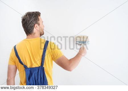 Professional Painter Portrait Whitewashing The White Wall
