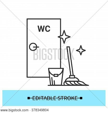 Wc Disinfection Icon. Restroom Regular Cleaning Line Pictogram. Concept Of Office And Pubic Place Hy