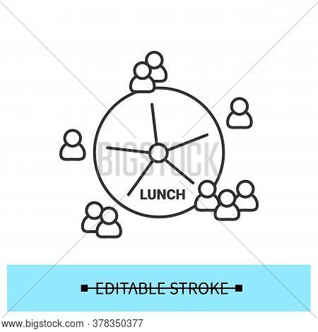 Lunch Time Icon. Quarantine Office Break Diagram Or Pause Time Management Linear Pictogram. Employee