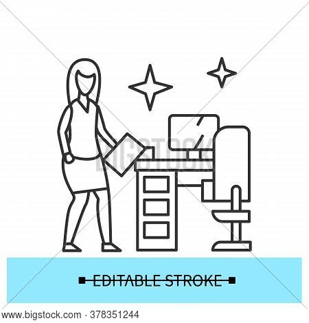 Clean Workplace Icon. Woman Employee Beside Shiny Office Desk Line Pictogram. Concept Of Workplace D