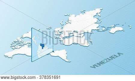 World Map In Isometric Style With Detailed Map Of Venezuela. Light Blue Venezuela Map With Abstract