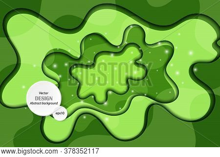 Realistic Colorful Paper Cut Background. Abstract Green Paper Poster Textured With Wavy Layers. Carv