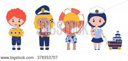 Vector Set Of Cute Happy Kids Play Sailor Game. Children Hold Toy Boat, Submarine, Cruise Liner And