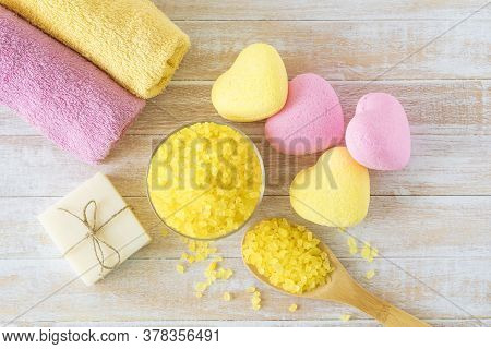 Bath Spa Accessories With Bath Bombs In Spape Of Heart, Sea Salt, Towels And Handmade Soap For Beaut