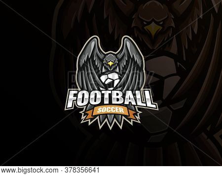 Eagle Mascot Sport Logo Design. Eagle Soccer Mascot Vector Illustration Logo. Eagle Covers The Socce