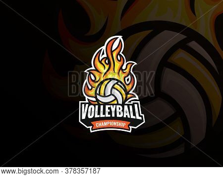 Volleyball Sport Logo Design. Flaming Volleyball Ball Vector Badge. Volleyball With Fire Vector Illu