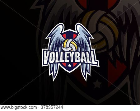 Volleyball Sport Logo Design. Volleyball Logo Club Sign Badge Vector Illustration. Volleyball With W