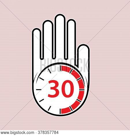 Raised, Open Hand With A Watch On It. Time For Rest Or Break, Pause. 30 Minutes Or Seconds. Flat Des