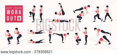 Body Toning Workout Set. Women Doing Fitness And Yoga Exercises. Lunges, Pushups, Squats, Dumbbell R