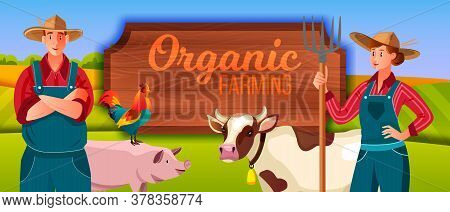 Farm Vector Illustration With Woman, Man, Pig, Cow, Cockerel, Wooden Signboard. Agriculture Backgrou