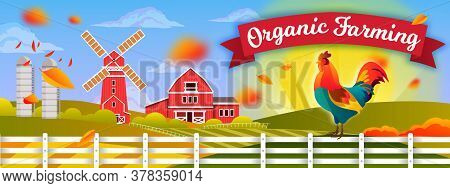 Organic Farming Illustration With Cock, Mill, Fence, Barn, Rising Sun, Falling Leaves. Agriculture R