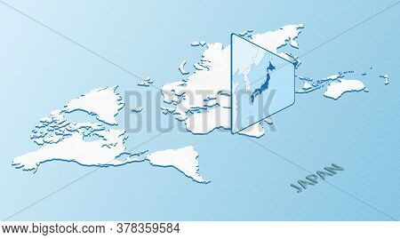 World Map In Isometric Style With Detailed Map Of Japan. Light Blue Japan Map With Abstract World Ma