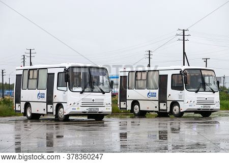Pangody, Russia - June 30, 2020: Small Urban Buses Paz 3204 In The City Street.