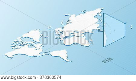 World Map In Isometric Style With Detailed Map Of Fiji. Light Blue Fiji Map With Abstract World Map.