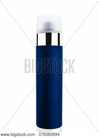 Varnish Hair Spray In A Dark Blue Iron Label Bottle With A White Cap And A Metal Chrome Insert, On A