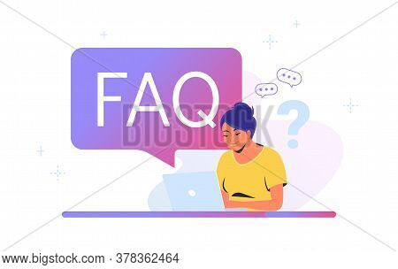 Young Woman Sitting With Laptop And Having Questions. Flat Vector Illustration Of Smiling Student Ne