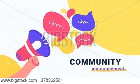 Community Announcement With Loud Megaphone. Flat Vector Modern Illustration Of Human Hand Holds Red