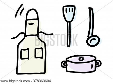 Apron, Pot, Ladle, Spatula. Doodles Icon Set. Hand Drawn Lines Kitchen Cooking Tools And Appliances,