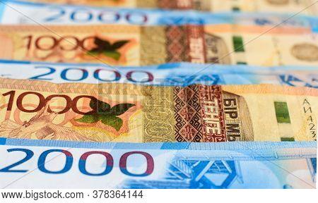 Russian Rubles And Kazakhstani Tenge. Money Background. Financial Crisis, Ruble Devaluation Concept.